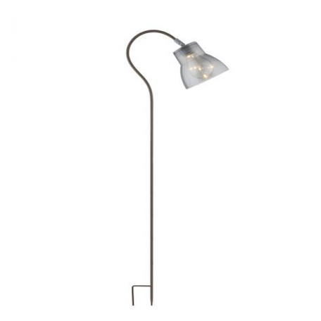 Stalp decorativ cu panou solar, LED 0.6W, 106 cm, suport fix, alb cald