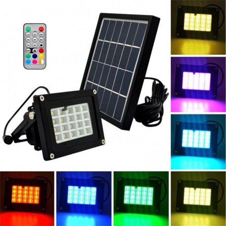 Proiector solar 20 LED-uri RGBW, 3W, IP65, telecomanda, suport fix