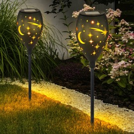 Stalp solar Luna stele LED, fixare in pamant, metalic, inaltime 58 cm